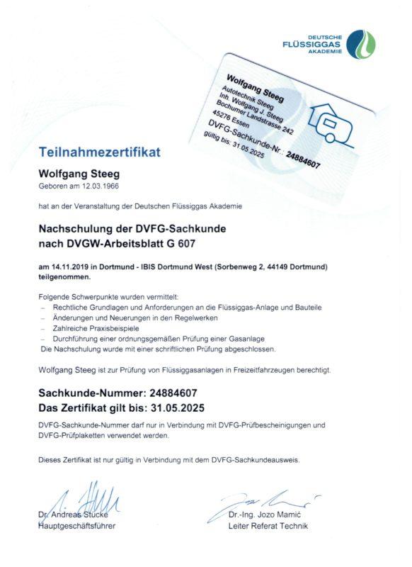 Zertifikat G607 Sachkunde