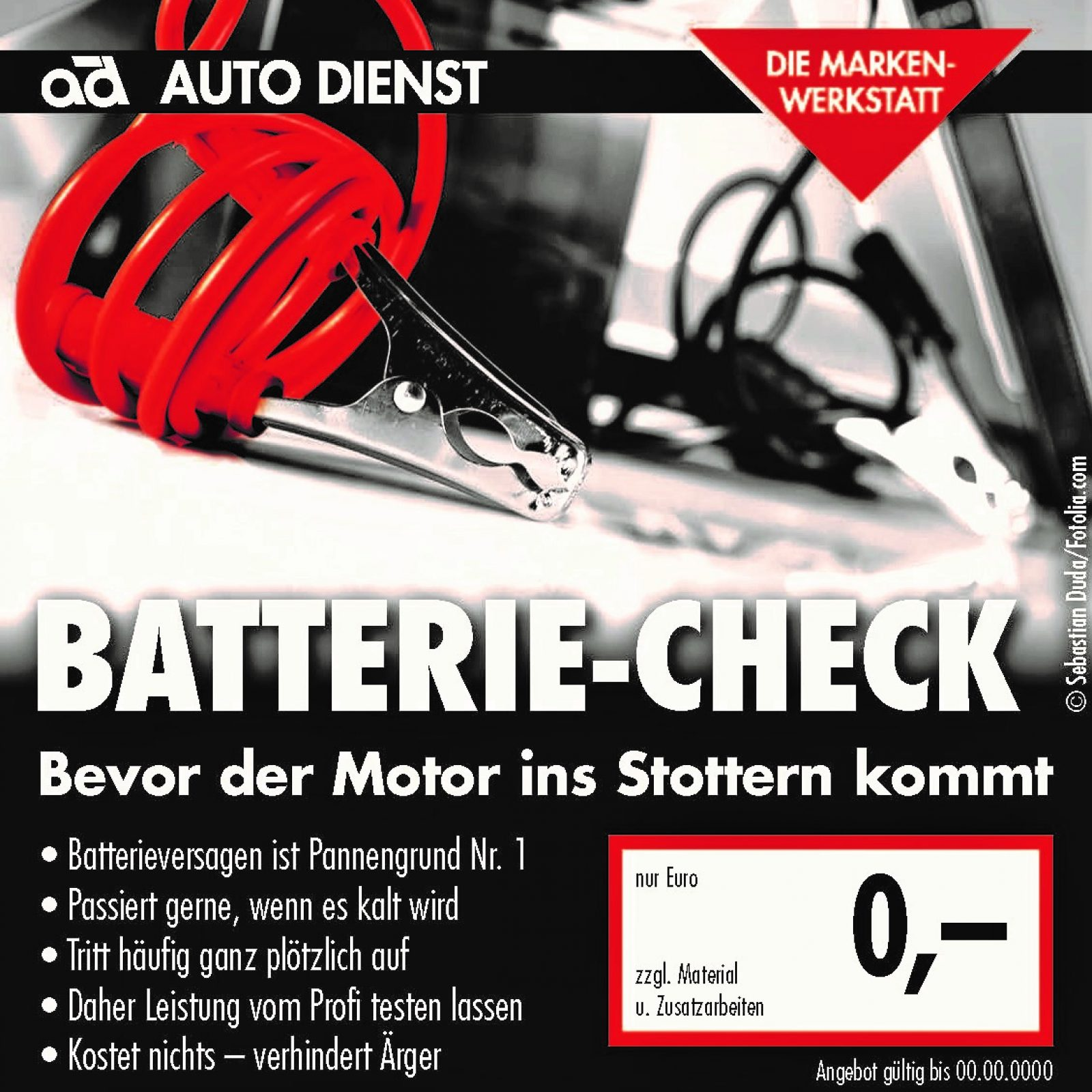 Angebot , Starthilfekabel an einer Autobatterie